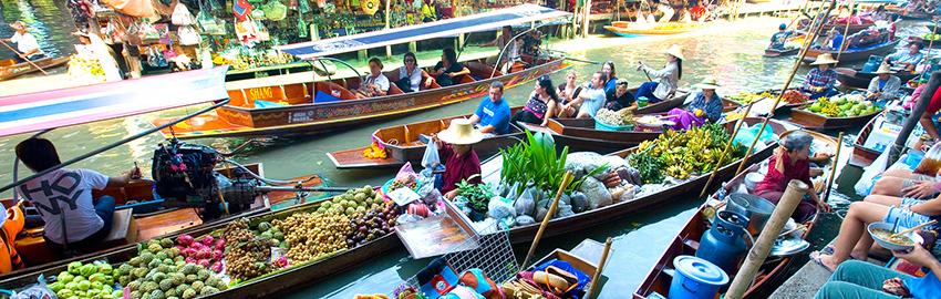 Marché flottant de Damnoen Saduak au Pays du Sourire